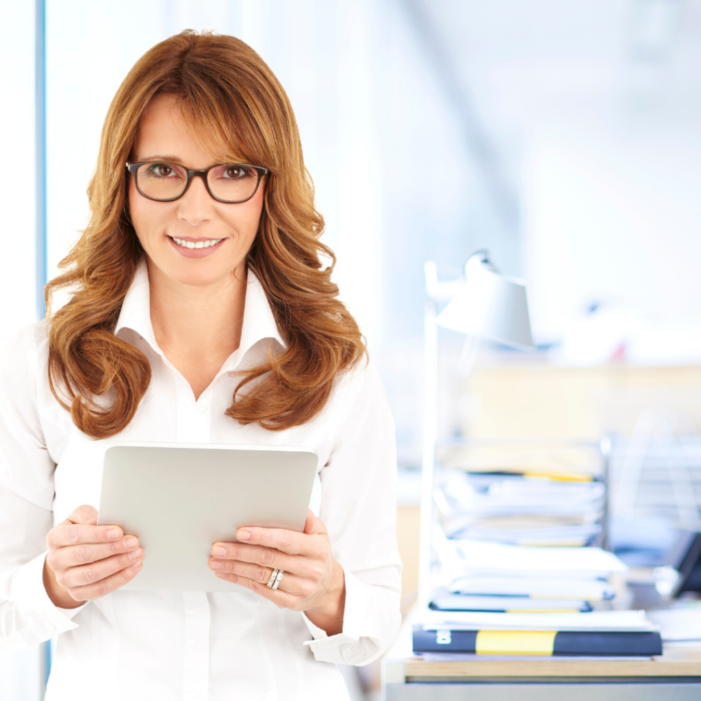 Attorney holding a tablet for SEO Marketing